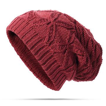 Winter Warm Knitting Beanies Cap Casual Solid Thicken Skull Bonnet Hat For Men Women