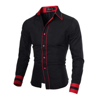 Mens Unique Neckline Business Slim Fit Dress Long Sleeve Casual Shirt