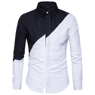 Chic Trendy Black White Splicing Stylish Designer Shirt for Men