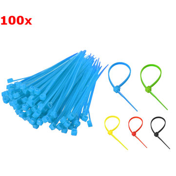 100pcs 2.5x100mm Nylon Plastic Zip Wrap Cable Loop Tie Wire Self-Locking Strap