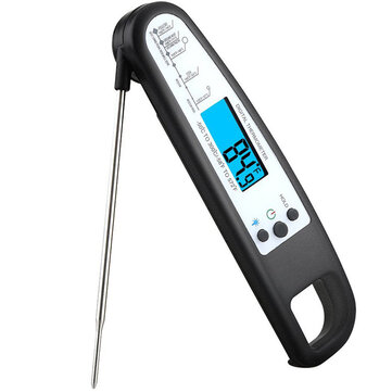 Instant Read Digital Food Meat Thermometer w/ Probe for Cooking BBQ Grill BBQ Thermometer-Black