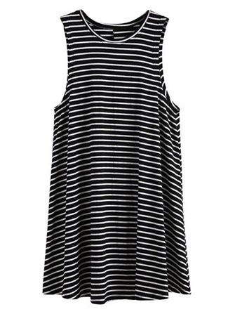 Women Loose Sleeveless Round Neck Stripe Mini Cotton Dress