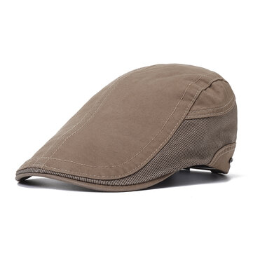 Mens Outdoor Summer Patchwork Breathable Beret Hat Solid Newsboy Cabbie Flat Caps Visor