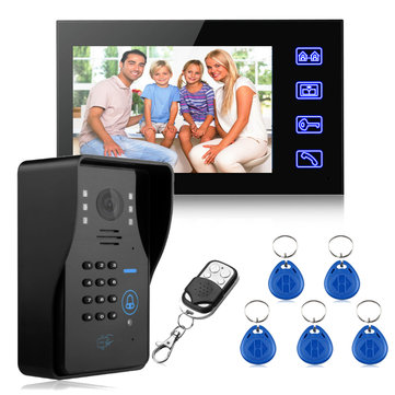 Wired 7Inch LCD Password Video Door Phone Doorbell Intercom System Camera RFID Card