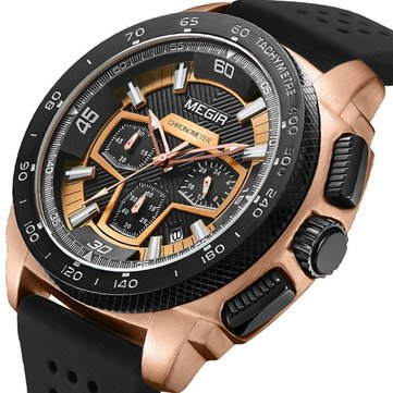 MEGIR 2056 Men Watches Sport Fashion Luminous Chronograph Military Quartz Male Wrist Watch