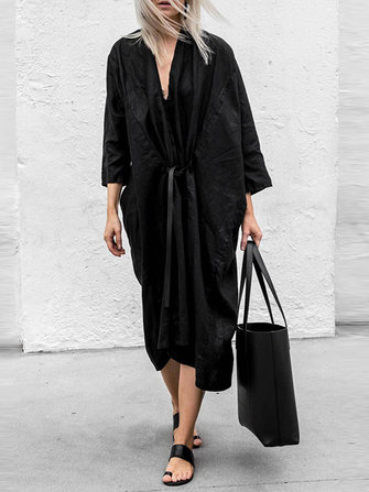 Women Solid Color Front Open Cardigan Long Sleeve Dress