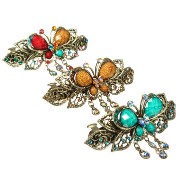 1Pcs Women Retro Crystal Diamond Butterfly Flower Hairpins Hair Clip Barrette