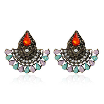 1Pair Bohemian Crystal Rhinestones Water Drop Retro Earrings