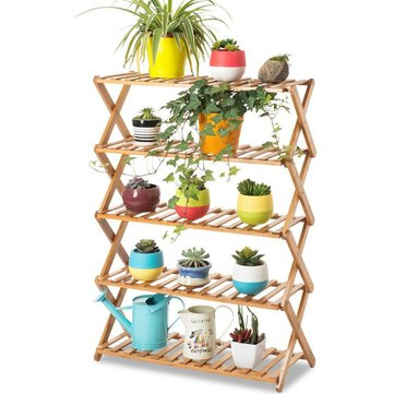 2/3/4/5 Tier Foldable Flower Pot Plant Stand Planter Display Rack Shelf Organizer Garden Balcony