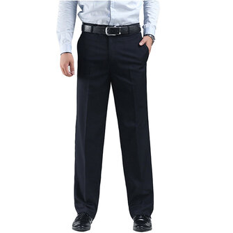 Plus Size 30-48 Black Slim Straight Suit Pants Autumn Winter Casual Business Men's Dress Trousers