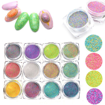 12 Colors Nail Glitter Powder 3D Nail Art Decoration