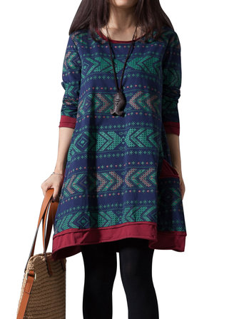 Casual Ethnic Pattern Printed Pocket Loose Dress For Women