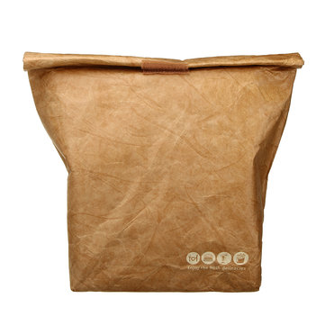 6L Kraft Paper Picnic Lunch Bag Reusable Insulated Thermal Cooler Bag Food Container