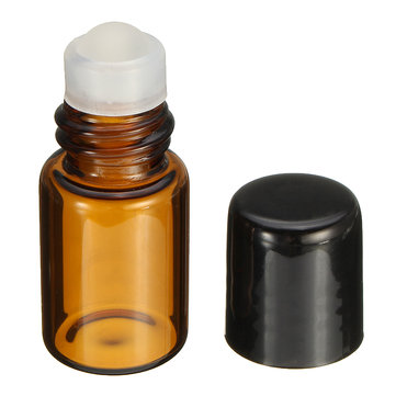 2mL Empty Amber Glass Roll on Bottle Container Refillable Roller Ball Essential Oil Liquid Bottle