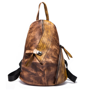 Brenice Cowhide Women Backpack Retro Buckle Contrast Color Book Bag