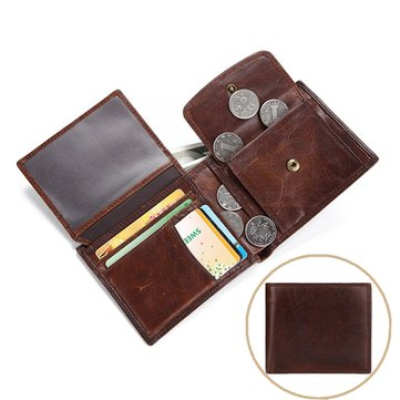 Vintage Genuine Leather Large Capacity Tri-fold 11 Card Slots Coin Bag Wallet For Men