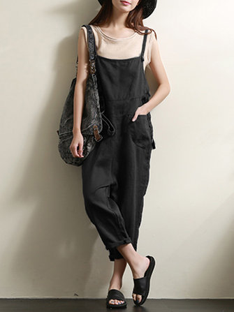 Casual Women Solid Color Sleeveless Strappy Jumpsuit