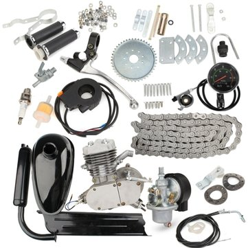 Upgraded 80cc 2 Stroke Motorized Bicycle Gas Engine Motor Kit with Speedometer Silver