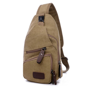 Men Canvas Leisure Shoulder Bag Vintage Style Crossbody Chest Pack