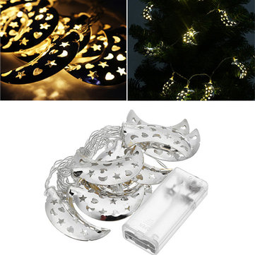Battery Operated 10LEDs Silver Metal Moon Shaped Warm White Indoor String Light For Christmas