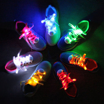 1 Pair LED Bestselling 7TH Generation Flash Luminous Fashionable Nylon Shoe Laces for Party Skating Running Disco Light Up Glow Nylon Strap