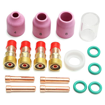 17Pcs TIG Stubby Gas Lens Ceramic Nozzle & Glass Cup Kit WP-17/18/26 3.2mm 1/8inch