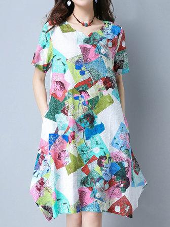 꽃 프린트 오목 불규칙한 여자 드레스