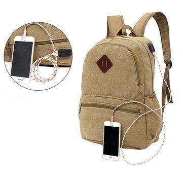 Erkek Bayan Ayakkabıları Su Geçirmez Tuval Laptop Sırt Çantası Çanta Harici USB Şarj Portu İle