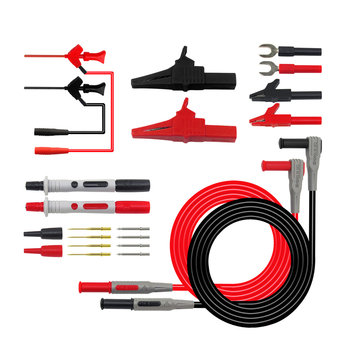 Cleqee P1300D 16 in 1 Replaceable Multimeter Probe Test Hook&Test Lead Kits 4mm Banana Plug Alligator Clip Test Stick