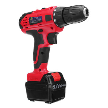 21V Li-ion Cordless Electric Driver Drill 2-speed Adjustable Power Screwdrivers with LED light