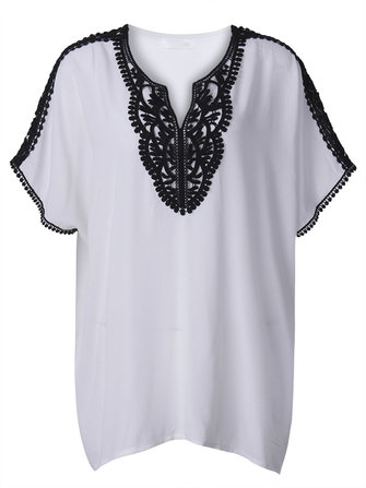 Casual Women Lace Crochet Patchwork Batwing Sleeve Chiffon T-shirt