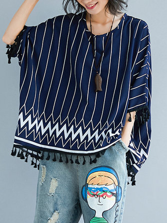 Casual Women Striped O-Neck Batting Sleeve Blouse