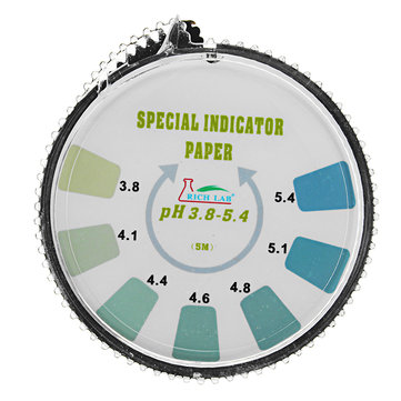Precision PH Test Strips Roll Short Range 3.8-5.4 Indicator Paper Tester Dispenser Color Chart 5m/16.4 ft