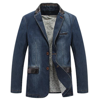 Mens Casual Outdoor Jackets Stylish Suits Stitching Denim Blazers