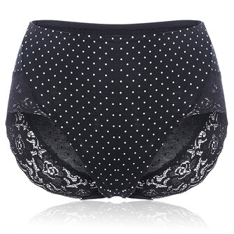 Plus Size Cotton High Waist Polka Dot Soft Panties