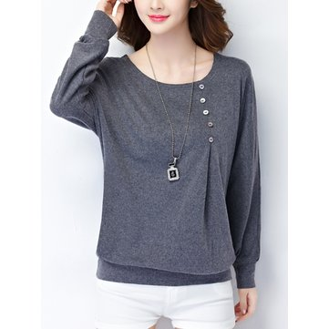 Button Casual Long Sleeve Pure Color Cotton Round Neck Women T-Shirt