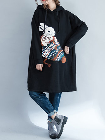 Plus Size Casual Women Rabbit Hooded Fleece Sweatshirts