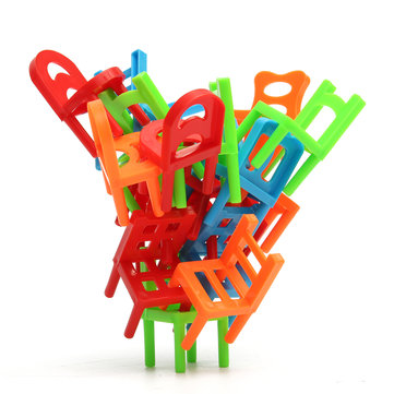 18X Plastic Balance Toy Stacking Chairs For Kids Desk Play Game Toys Parent Child Interact