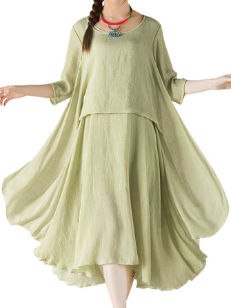 O-NEWE Women Elegant Solid 3/4 Sleeve Ruffled Irregular Dress