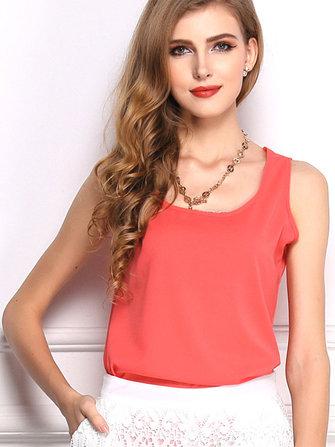 Casual Women Sleeveless O-neck Chiffon Pure Color T-shirts