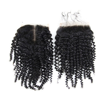 4*4 Brazilian Kinky Curly 100% Human Hair Extensions Lace Closure Natural Color Wig