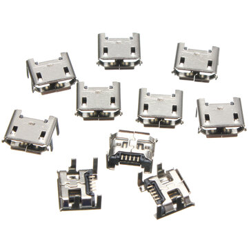 10pcs Micro USB Type B 5 Pin Female Socket 4 Vertical Legs For Solder Connector