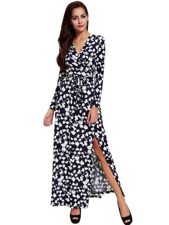 Women Sexy V-Neck Long Sleeve Printed Belt Maxi Dress
