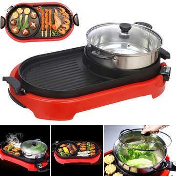2 In 1 220V BBQ Barbecue Electric Pan Grill Teppanyaki Hot Pot Steam Cooker