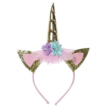 Kids Party Gold Headband Horn Gold Glittery Beautiful Headwear Hairband Hair Accessories