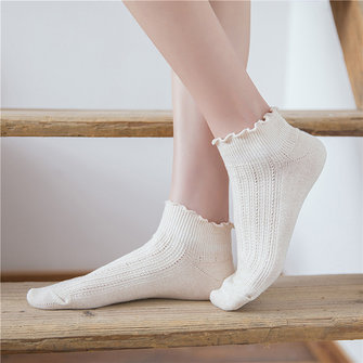 Plain Lace Ankle Socks Cotton Low Cut Boat Slippers Socks