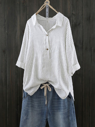 Women Stripe Retro Turn Down Collar Blouse Shirt