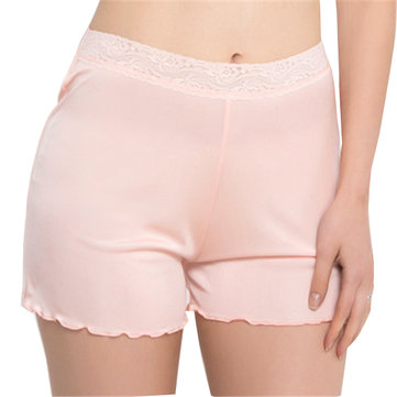 Cosy Silk Soft Lace-trim Underwear Screw Thread Smooth Breathable Boyshorts