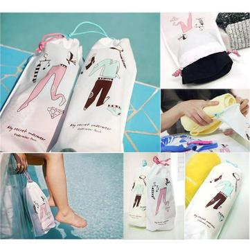 Drawstring Travel Clothes Organizer Pants Socks Package Pouch Storage Bag Sports Waterproof Foldable Portable