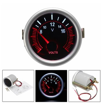 2Inch 52MM 12V White & Red LED Car Boat 8-16 Voltmeter Volt Voltage Gauge Meter